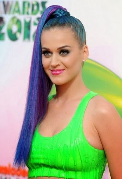 Katy Perry Multi Color Long Hair in Braid Wrapped Ponytail Hairstyle