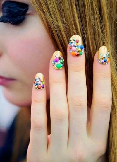 Colored Full Artificial Stone 3D Nail Art Designs