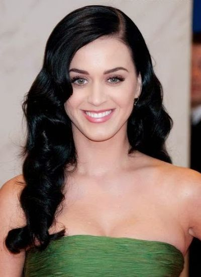 Katy Perry With Long Black Colored Hairstyles