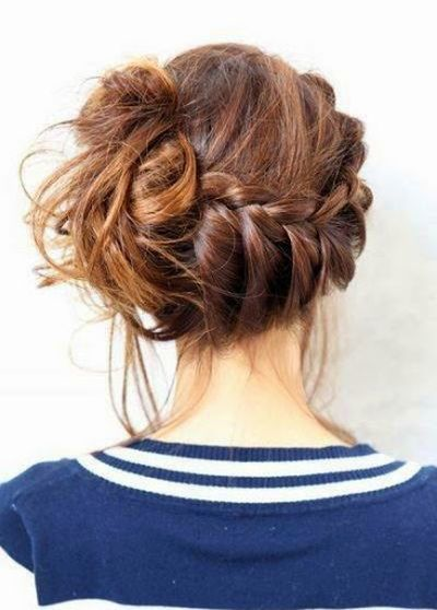 Pretty Lady Bun with Braid Hairstyles