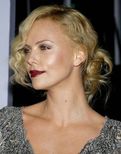 Charlize Theron Awesome Red Dark Lip Polish with Curly hair and Bangs Hairstyle
