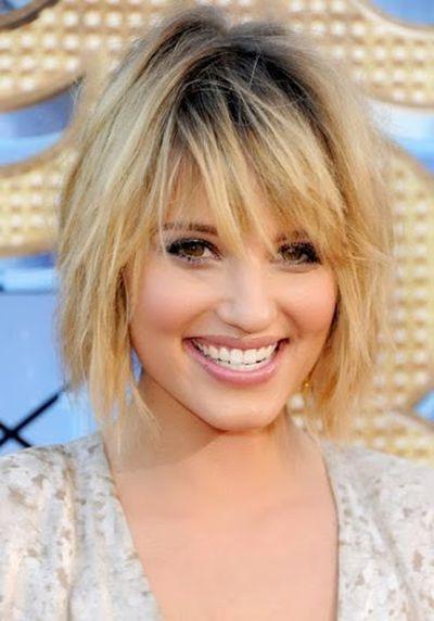 Dianna Agron Funky Blonde Hair with Messy Short Hair Bangs Haircut Ideas