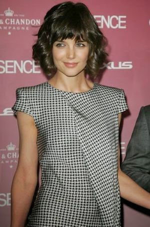 Katie Holmes Heavy Short Bangs and Bob Hair Look