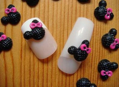 Black and Pink Color Mickey 3D Nail Art Designs and Ideas