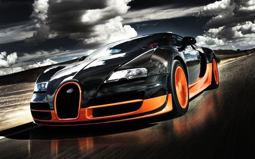 Black and orange color bugatti sports car wallpaper adn images for iphone