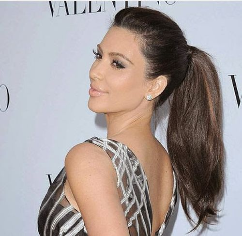 7. Grate Long Hair in a High Ponytail Hairstyle Pictures For Kim Kardashain