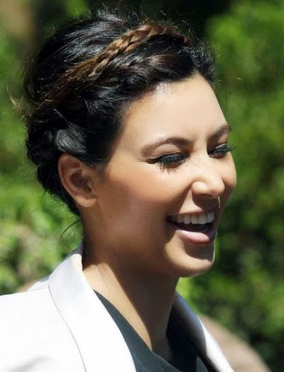 8. Kim Kardashian was Cute Smile in this Perfect Braided updo at Street Style Fashion Ideas