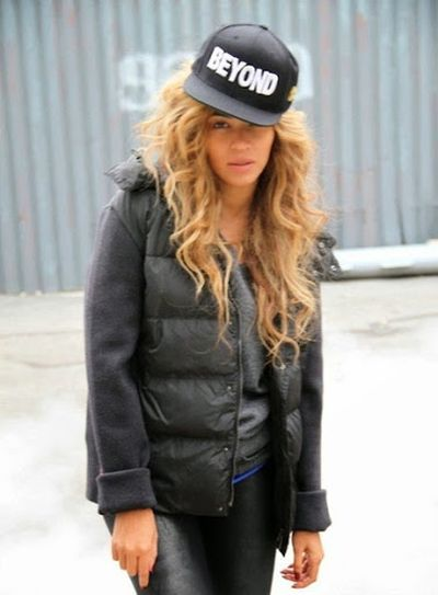 Beyonce Hip Hop Cap with Curls Hairstyle