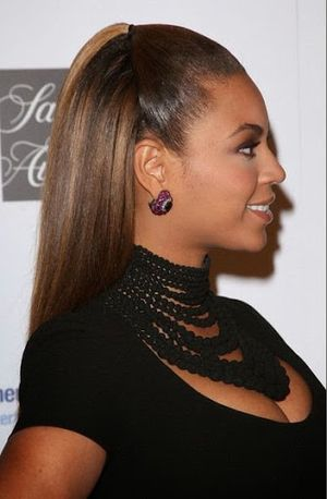 Half Up and Half Down With Ponytail Hairstyle Of Beyonce Knowles